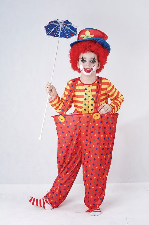 Childs Hoop Clown Costume Circus FunFair Parade Fancy Dress Outfit